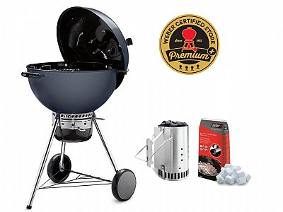 Weber New 2019 BBQ Weber a carbone Master Touch E-5750 Slate Blu 57cm Kit Ciminiera