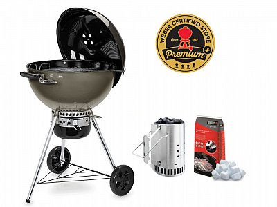 Weber New 2019 Barbecue Weber a carbone Master Touch E-5750 Smoke Gray 57 cm con Kit Ciminiera