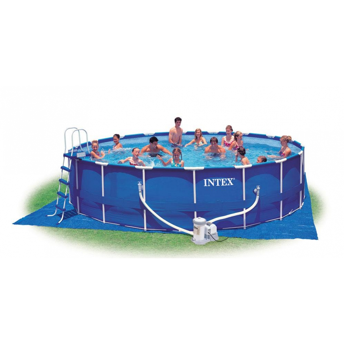 Piscina tonda intex fuoriterra 549x122 mod metal frame con for Prezzi piscine intex