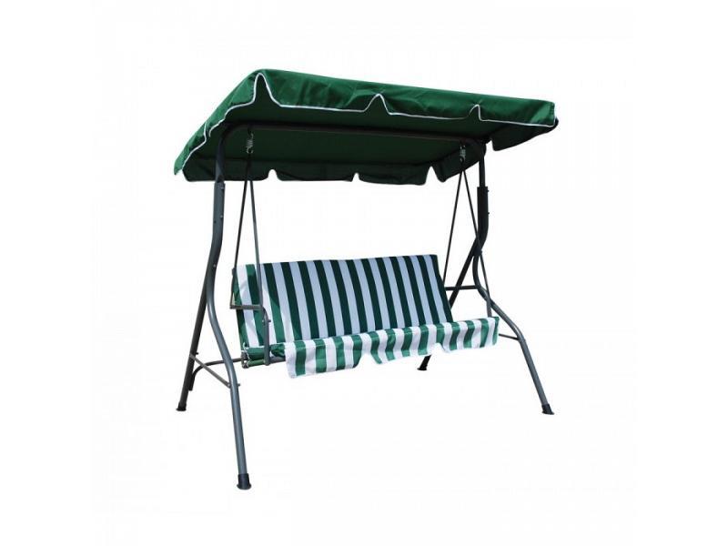 Dondolo altalena in ferro con cuscino 3 posti verde e bianco for Altalena a dondolo