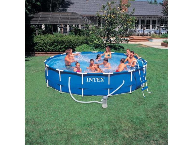 piscina tonda fuoriterra intex 457x91 mod metal frame con. Black Bedroom Furniture Sets. Home Design Ideas