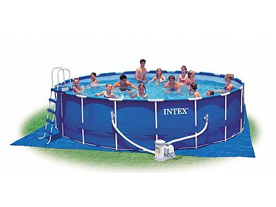 Piscina rettangolare intex 732x366x132 mod ultra frame con for Piscina intex 975x488x132