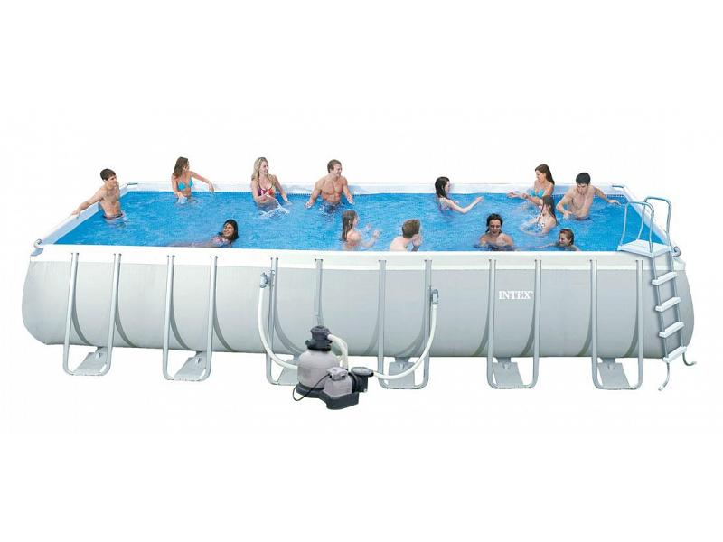 Piscina rettangolare intex 732x366x132 mod ultra frame con for Piscine portante