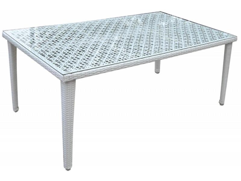 Tavolo da giardino rettangolare bianco con vetro mod for Tavolo rettangolare bianco