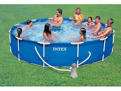 Piscina fuoriterra rettangolare intex 450x220x84 mod frame for Piscina intex 975x488x132