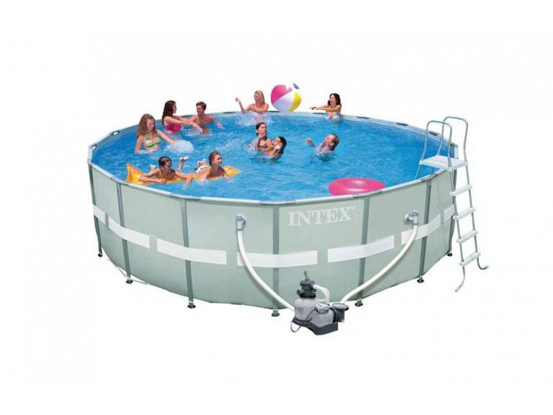 Piscina fuoriterra tonda intex 549x132 mod ultra frame con for Intex piscine accessori