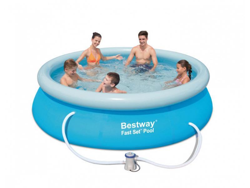 Piscina fuoriterra tonda bestway 305x76 mod fast set for Teli piscine fuori terra