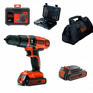 Black&Decker Trapano avvitatore a percussione 18V con 2 batterie Black+Decker