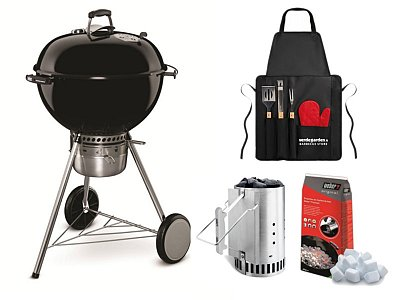 Weber Barbecue a carbone Weber Master Touch GBS 57 cm con grembiule e Kit Ciminiera