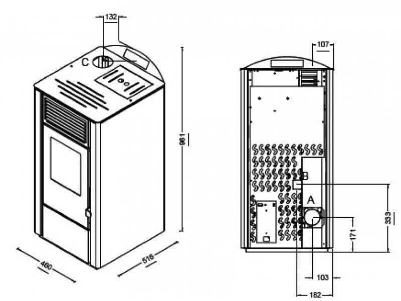 Stufa a pellet lory punto fuoco potenza termica 8 kw punto - Stufe a pellet esterne ...