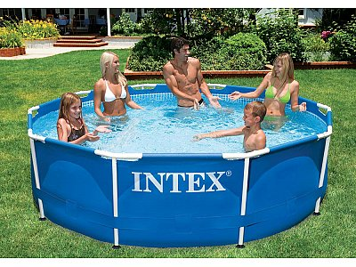 Piscina tonda fuoriterra intex 488x122 mod ultra frame con for Piscina intex 975x488x132