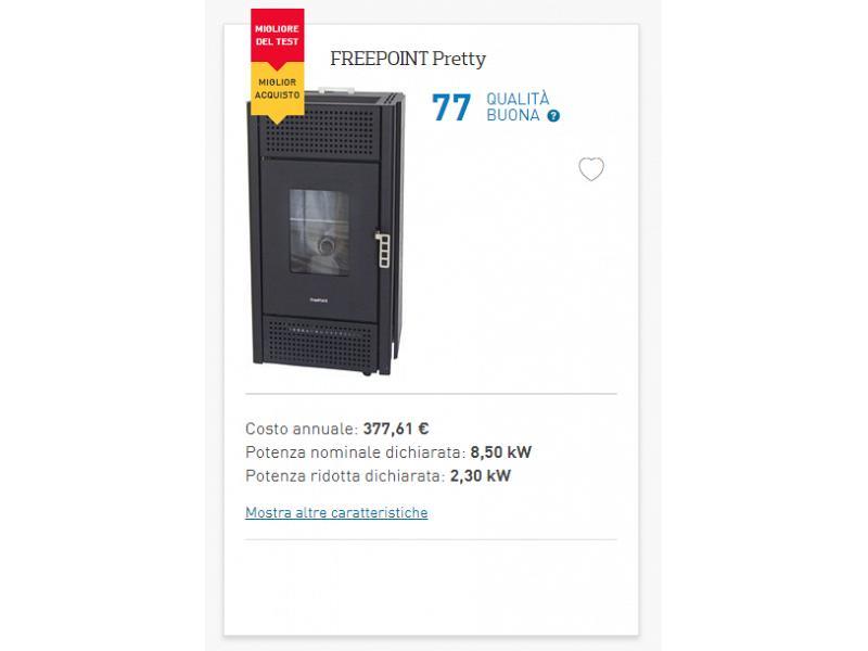 Stufa a pellet freepoint pretty da 8 5 kw ideale per 204 mq for Quanti kw per riscaldare 200 mq